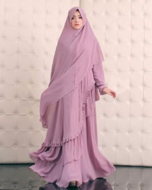 FG - [Syari Serena D Pink SW] Baju muslim wanita jersey Dusty Pink