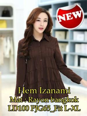 FG - [ Hem Izanami SW] pakaian wanita kemeja warna coklat lengan panja