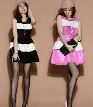 FG - [ dress fanny HO] pakaian wanita dress warna hitam dan pink