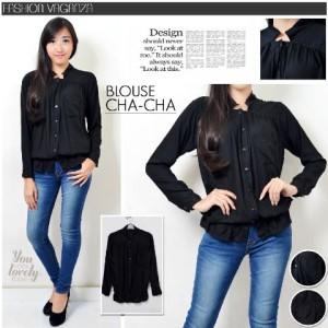 FG - [Blouse cha2 black HO] blouse wanita katun rayon hitam