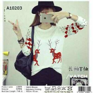 Blouse Kaos Vitachi Deer Red Merah Putih