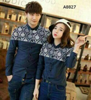 Couple Kemeja Hem Numata Navy Batik
