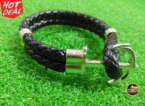 Gelang Kulit / Leather Fashion Anchor Kekinian