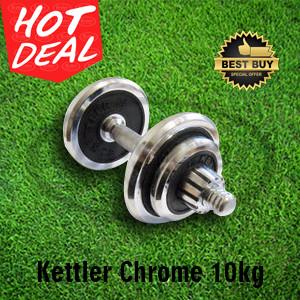 Dumbell Chrome Set 10Kg Kettler / Dumbel Barbel Set 10kg Original