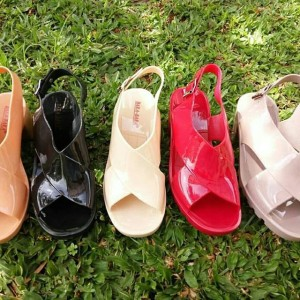 JELLY SHOES JUJU SILANG WEDGE WEDGES HEELS XCROSS HX1602SL5W BARA BARA