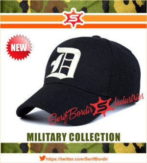 Topi Baseball Pria bordir Alphabets D forTopi Baseball warna Hitam