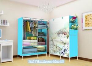 07 Farmhouse Multifunction Wardrobe with Cover Lemari P Berkualitas