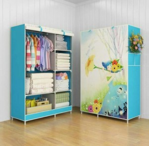 03 Flower Multifunction Wardrobe Cloth Rack with Cover Diskon