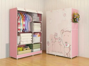 03 Bear Multifunction Wardrobe / Cloth Rack with Cover Murah
