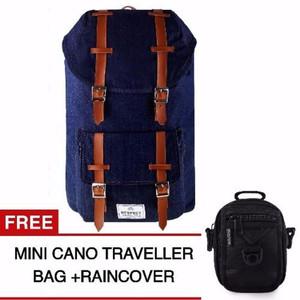 NEW Respect Mountain Denim Backpack - Biru Jeans + Gratis Mini Cano Tr