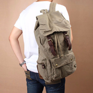 NEW Vintage Men Women Army Green Canvas Backpack Schoolbag Hiking Trav