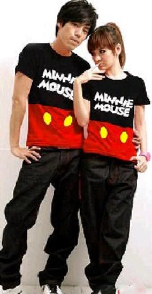 Minnie Kombinasi,minnie mouse, kartun,baju couple,,kaos oblong couple,
