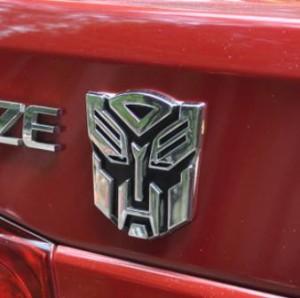 Stiker Mobil / Emblem Metalik Motif Transformer (Bahan Diskon