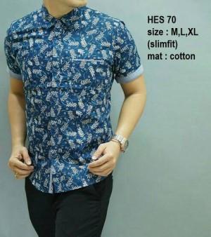 Kemeja Pria batik modern slim fit lengan pendek HES-70