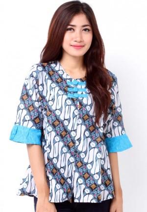 Jual Blouse Batik Kombinasi Embos Baju Atasan Wanita