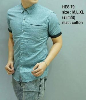 Baju Kemeja pria batik modern slim fit lengan pendek HES-79