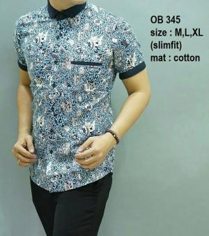 Baju Kemeja pria batik modern slim fit lengan pendek OB-345