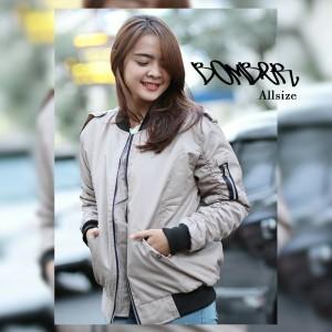 Fashion Jaket Bomber Wanita Cream - tempat jual Produk Popular Di ... b769c97a10