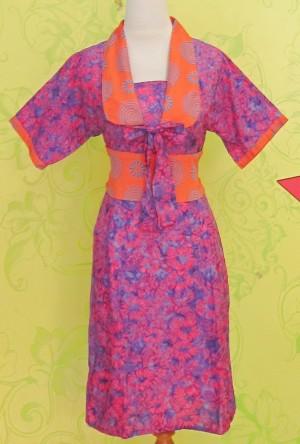 Dress Batik PITA TENGAH UNGU ^^