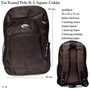 tas ransel pria import pollo RL square coklat