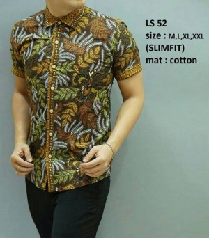 Baju batik pria modern slim fit lengan pendek LS-52