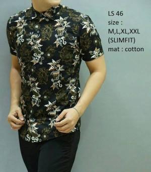 Baju Batik Pria modern slim fit lengan pendek LS-46
