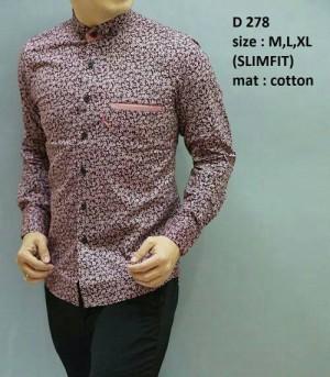 Baju Kemeja pria batik modern slim fit lengan panjang D-278