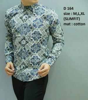 Baju Batik Pria Modern slim fit lengan panjang D-164