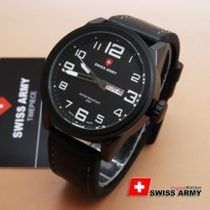 ... TANGAN PRIA LEATHER STRAP SA 6401 HITAM. Jam Swiss Army Original SA 6401 Black White