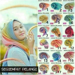 Jilbab Segiempat Pelangi / segi4 murah / segi 4
