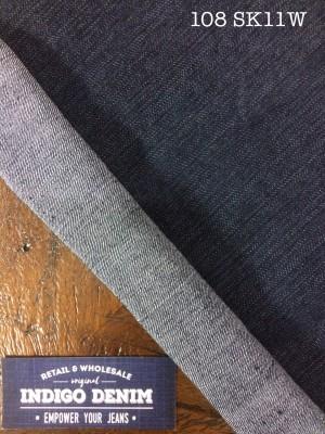 108 - Denim Blue Black Non Stretch Washed Ketebalan Medium Salur