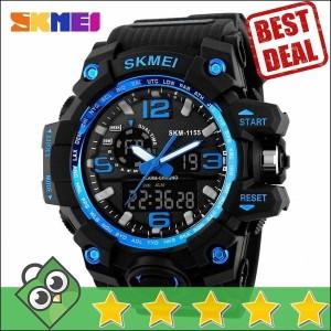 Jam Tangan Pria Dual Time SKMEI Men Sport LED Original AD1155