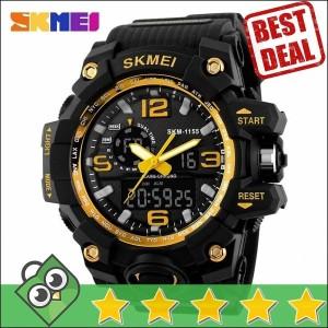 Jam Tangan Pria Dual Time SKMEI Men Sport LED Original AD1155 Kuning