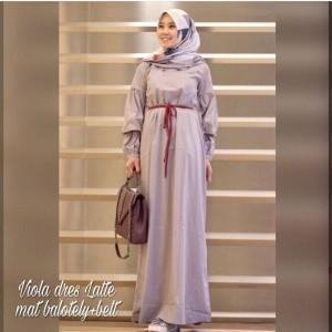 Viola Dress Muslim Desain Sederhana Bahan Tebal Tidak Panas