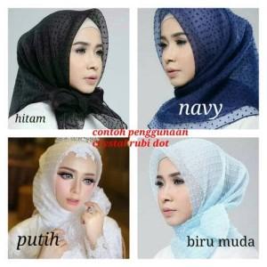 jilbab organza crystal dot/segiempat/hijab
