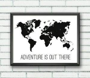 Jual Poster Premium Peta Dunia Hitam Putih Adventure Is Out There Kota Bandung Hnd 83 Shop Tokopedia