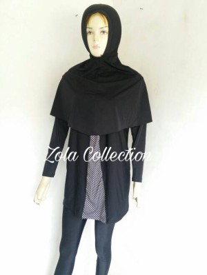Baju renang muslimah MD04 babbydoll|pakaian renang muslim jumbo - Hitam