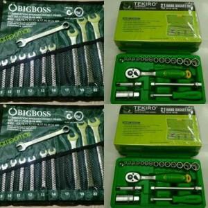 TEKIRO Kunci Sok Set 21 pcs Paket Kunci Ring Pas Set 11 pcs 8-24 mm