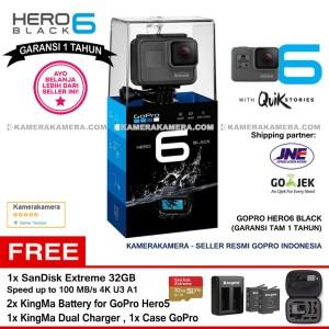 GoPro Hero6 Black (Resmi) +SanDisk Ex 32gb +2 Battery +Charger +Case
