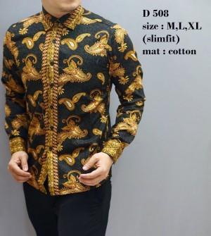 Baju Batik Pria  / Kemeja Batik Slim fit / Batik Lengan Panjang TOP11