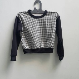 M093 HOUNDSTOOTH LEATHER TOP (Jual Sweater Houndstooth)