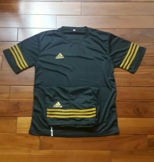 Jersey Baju Setelan Futsal Bola Adidas Hitam Lis Gold