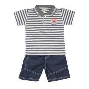 Baju Anak Laki Setelan Kerah Salur Tompege TP-6386B