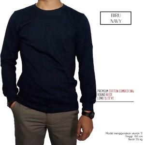 Kaos Polos Lengan Panjang Biru Navy 100% Cotton Combed 30s Reaktif