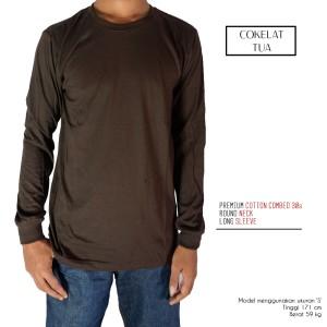 Kaos Polos Lengan Panjang Cokelat Tua 100% Cotton Combed 30s Reaktif