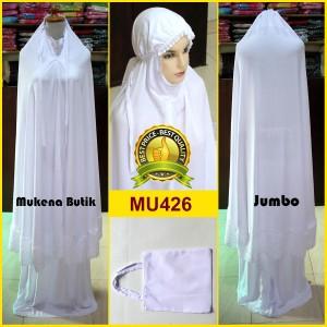 Mukena Jumbo Putih Polos Renda Tempel Bahan Rayon Super - MU426