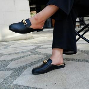mule's shoes comfy gold rantai