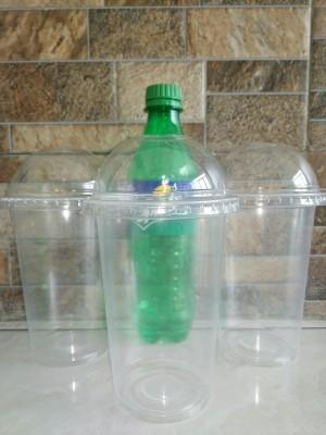Gelas Plastik PP 16oz Plastic Cup PP 16 oz PLUS TUTUP CEMBUNG LID DOME - Original