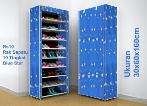 RAK SEPATU KAIN OXFORD 10 SUSUN (2KG)-RS10 OX (BLUE MOON) SHENAR