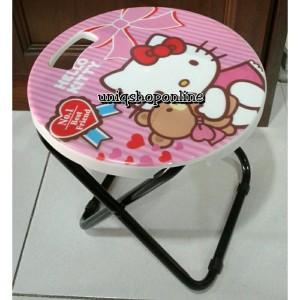 Bangku Lipet Anak-Anak Motif Karakter Hello Kitty & Mickey Mouse